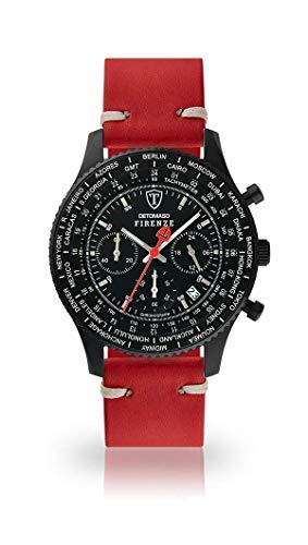 DETOMASO FIRENZE Uomo Orologio Cronografo analogico al quarzo rosso scuro Vintage Cinturino in pelle quadrante nero SL1624C-BK1-783
