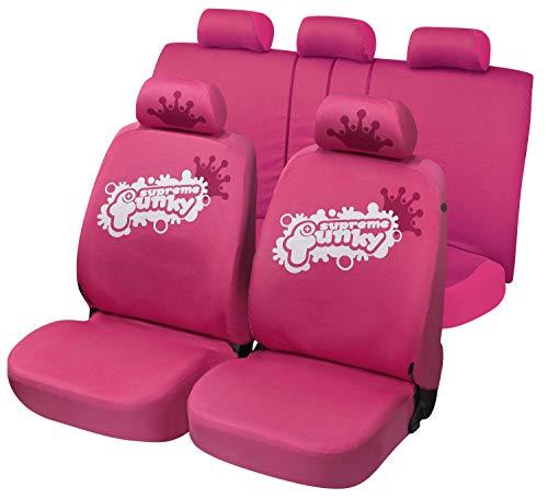 Walser 12683 Autositzbezüge aus Baumwolle Cotton Club Funky pink, Komplett Set, seitenairbagtauglich, TÜV geprüft mit ABE
