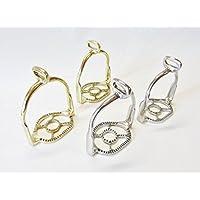 Paar Portugiesisch barocke Steigbügel Silber oder Goldfarben, 90° gedreht