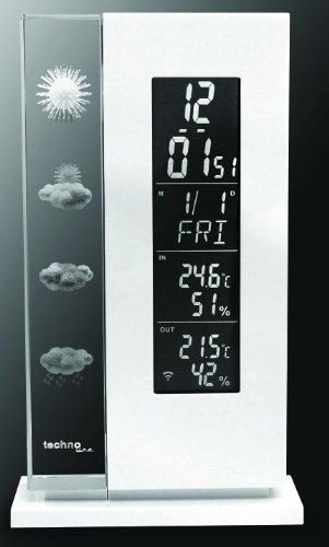 Wetterstation WS 6600 mit Vorhersage von Wettersituation durch in Glas gelaserte 3D-Wettersymbole