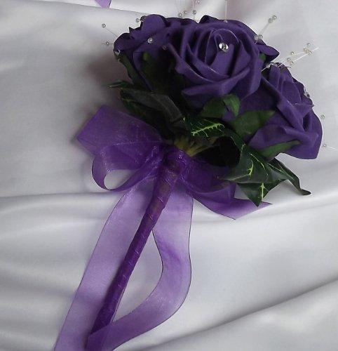 wedding-flowers-a-flowergirl-bridesmaid-posy-bouquet-of-cadbury-purple-foam-roses