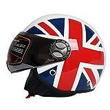 Tank Casco Moto Viso Aperto · Motocicletta Jet Retro Pilot Vintage Mezza Caschi · Caschi da Crociera Moto Biker Cruiser · Motivo a Bandiera Britannica · Certificato ECE · Visiera,M57~58cm