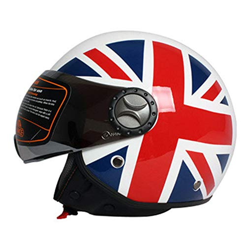 Motorrad-Helm Open Face · Scooter Jet Retro Pilot Motorbike Vintage Half Helmets · Motorrad Biker Cruiser Touring Helme · Britische Flagge Muster · ECE Zertifiziert · Visier,L59~60cm -