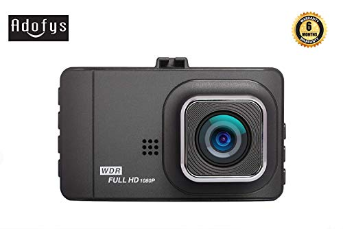 """Adofys Dash Cam 1080P FHD DVR Car Driving Recorder 3"""" LCD Screen 170°Wide Angle, G-Sensor, WDR, Parking Monitor, Loop Recording, Motion Detection"""