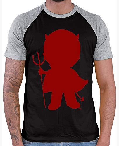 HARIZ  Herren Baseball Shirt Halloween Teufel Halloween Kostüm Verkleidung Karneval Inkl. Geschenk Karte Black/Grey Melange L