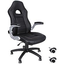 Songmics Silla giratoria de oficina Silla de escritorio Racing negro Recubrimiento de PU Reposabrazos ajustable OBG28B