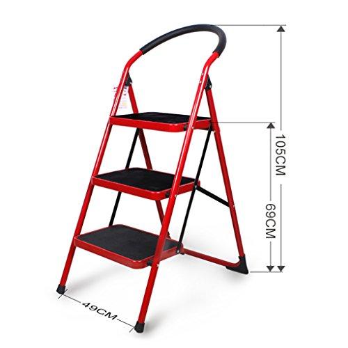 Folding 2 Step Ladder Red Haushalt 3 Step Hocker Verdicken Indoor 4 Treppe Hocker Rolltreppe Leiter ( Farbe : 3 steps )