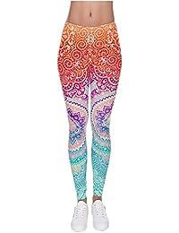 CHIC DIARY Legging Pantalon Longue Amincissant Comfort Sport Jogging Yoga Motif Multicolore Bigarré - Taille Unique