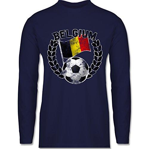 Shirtracer Fußball-WM 2018 - Russland - Belgium Flagge & Fußball Vintage - Herren Langarmshirt Navy Blau