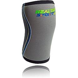 Healthy Sport Ginocchiere ad Alta Resistenza - Tutore Ginocchio anatomico in Neoprene 7 mm - Ginocchiera pallavolo, Crossfit, Workout, Rugby - Supporto per Ginocchio Sportivo (XL)