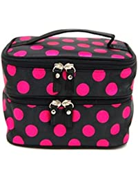 Hot Pink 2 : Make Up Pouches Storage, Koly® Lady's Dot Pattern Double Layer Cosmetic Bag Travel Toiletry Makeup...