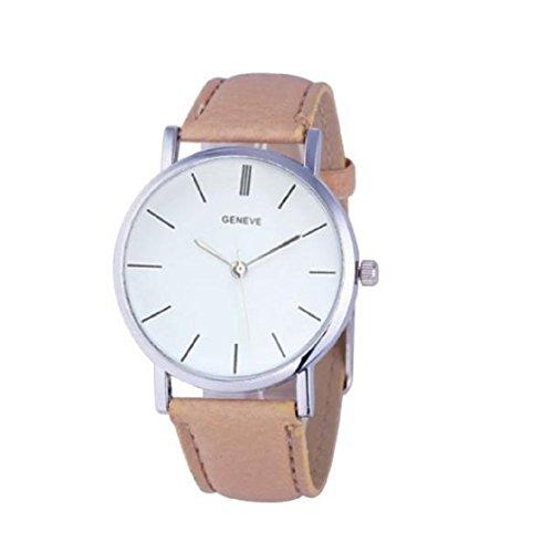 Vovotrade®Unisex casual Faux-Leder-Quarz-analoge Armbanduhr(Khaki)