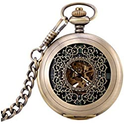 Antique Hollow Case Retro Pendant Luminous Hands Scale Roman Numerals Dial Automatic Mechanical Pocket Watch with Gift Box and Chain Bronze
