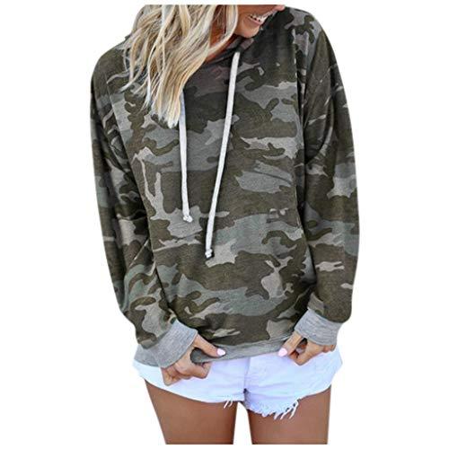 TOPKEAL Langarmshirt Damen Kapuzenpullover Langarm Camouflage Hoodie Sweatshirt Casual T-Shirt Lose Bluse Oberteil Top (Armee grün, L)