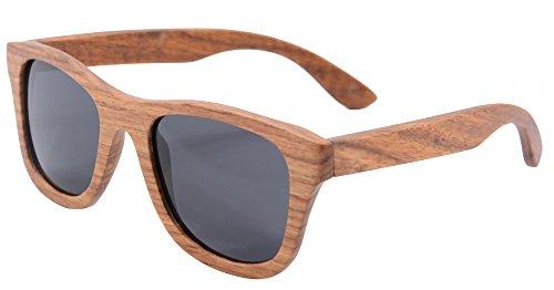 SHINU Polarizadas Gafas de Madera de Bambú Gafas de Sol Lentes de Madera Vintage y Espejos de Anteojos Gafas de Sol de los Hombres Gafas de Sol-Z6016 (pear, grey)