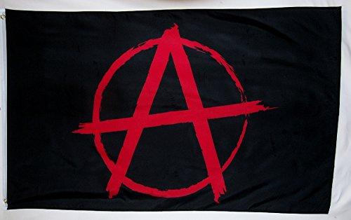 Anarchie Symbol Flagge 3'x 5' Indoor Outdoor Anarchismus Banner (Metall-anarchie-symbol)