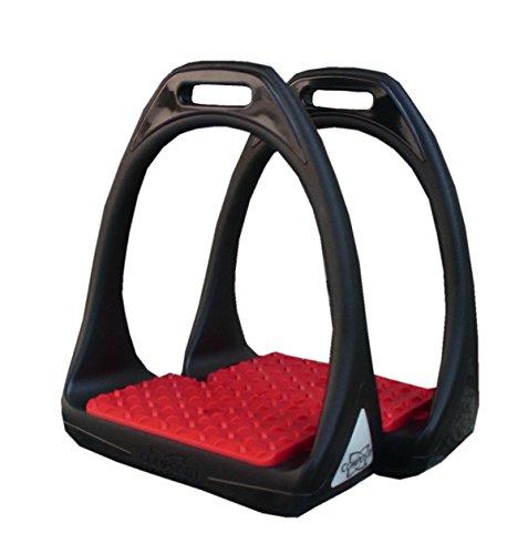 Kunststoffsteigbügel Reflex mit flexibler breiter Trittfläche schwarz/rot | Compositi Steigbügel aus Kunststoff