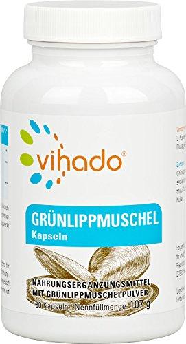 Vihado Grünlippmuschel Kapseln hochdosiert • 180 Kapseln • Viel Omega 3 Fettsäuren • Ohne Zusatzstoffe • Besser als Grünlippmuschelextrakt • Made in Germany