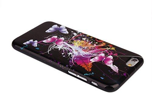 """Kit Me Out FR Coque en gel TPU pour Apple iPhone 6 / 6S 4.7"""" pouces - blanc / rouge / noir coeur style tatouage noir papillons multicolores"""