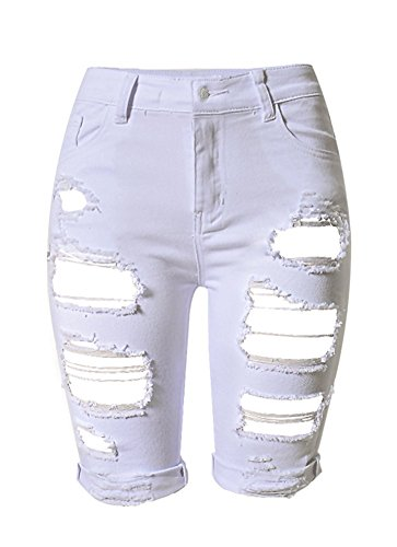Stretch Capri Jeans Hohe Taille Short kurze Hose Ripped Loch Hose ()