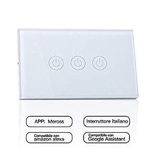 meross Wifi Smart Interruttore Parete Italiana Intelligente, 1/2/3 Gang Pannello Touch LED Antiurto Elettrico, Funzione… 41INt8r0%2BFL. SS300