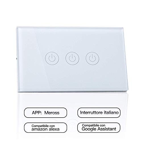 meross Wifi Smart Interruttore Parete Italiana Intelligente, 1/2/3 Gang Pannello Touch LED Antiurto Elettrico, Funzione Timer, App Controllo Remoto, Compatibile con Amazon Alexa, Google Home e IFTTT