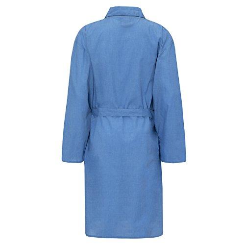 Herren Schlicht Gewoben Sommer Baumwolle Polyester Kimono Umhang Bademantel Himmelblau