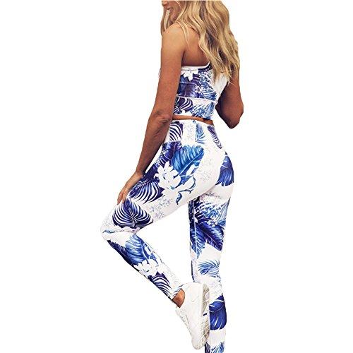Hibote Damen Sportswear 2 Teile / satz Trainingsanzug Hohe Elastizität Sportbekleidung Tank Tops + Leggings Fitness Anzüge Für Yoga,...