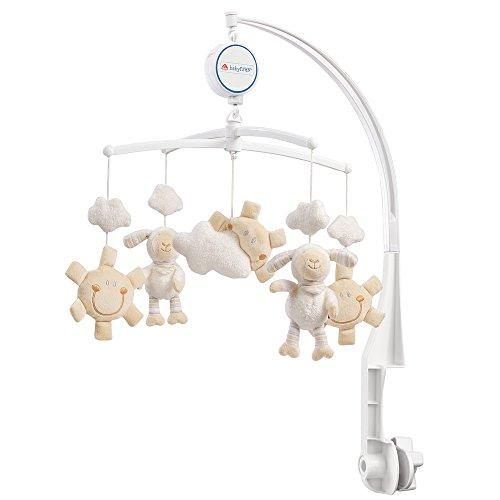 Fehn 154610 Musik-Mobile Schaf - Spieluhr-Mobile mit niedlichen Schafen, Sonnen & Wolken zum Lauschen & Staunen - Zum Befestigen am Bett für Babys von 0-5 Monaten - Höhe: 65 cm, ø 40 cm (Babys Sonne)