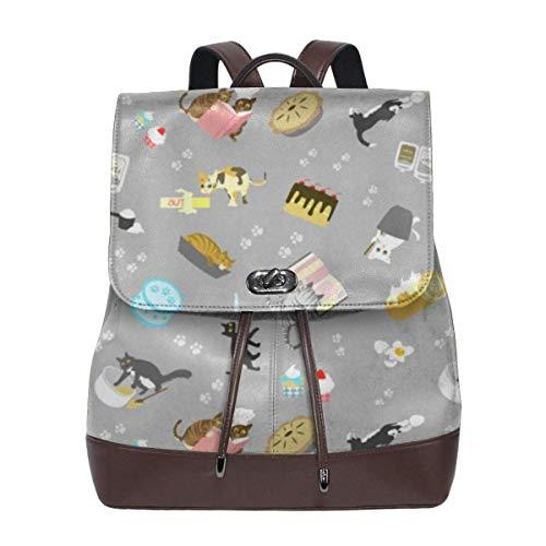 Flyup Cats Baking Cakes On Grey Women Leather Backpack for Travel Shopping Casual Laptop Bookbag Frauen Leder Rucksack - Leder Vera Bradley Aus Handtaschen