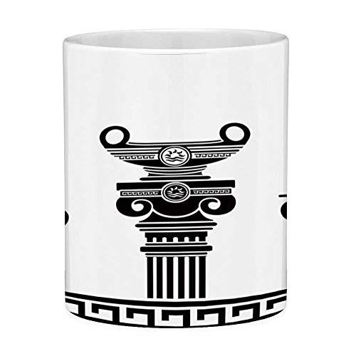 Rongpona Bleifreie Keramikkaffeetasse Teetasse Weiß Toga Party 11 Unzen Lustige Kaffeetasse Set aus hellenischen Vasen und Ionensäulen Künstlerisches Design Amphore Antike Schwarz und Weiß