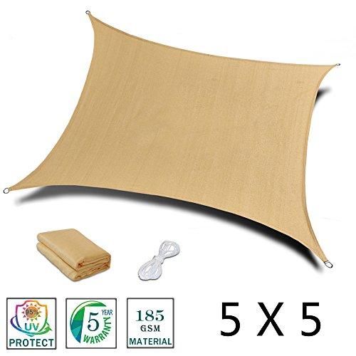 Love story tenda d'ombra rettangolare 5 x 5 m, tenda per esterni, cortile, giardino, colore sabbia