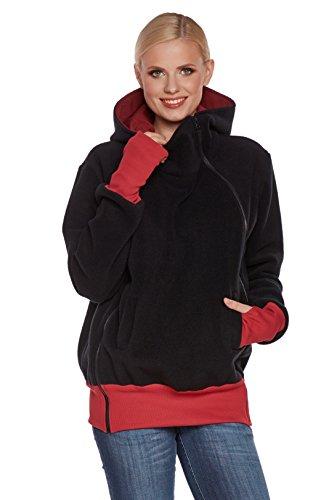 Be! Mama Bergamo Veste de portage en polaire 3en 1 (pull, t-shirt de grossesse et veste) Noir - Noir