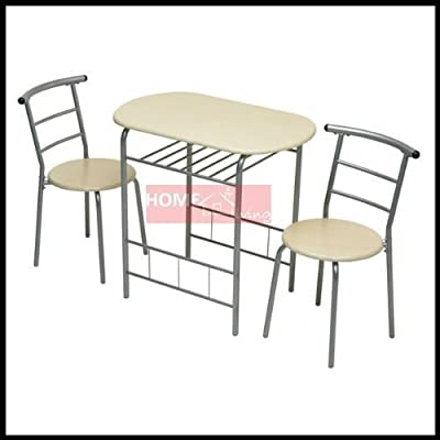 New 3pc Dining Set 2 Chairs and Table Metal Frame Wooden Seat Beech Furniture - cheap UK light shop.