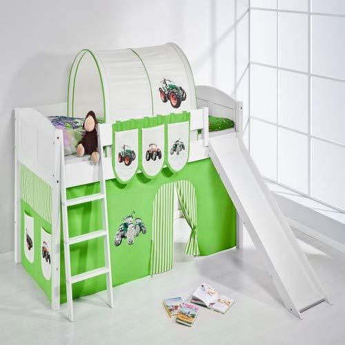 Lilokids Spielbett IDA 4106 Trecker Grün Beige-Teilbares Systemhochbett weiß-mit Rutsche und Vorhang Kinderbett, Holz, 208 x 220 x 113 cm