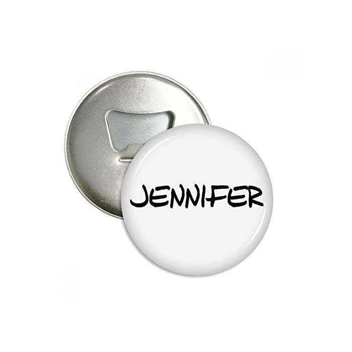 DIYthinker Spezielle Handschrift Englischer Name Jennifer Runde Flaschenöffner Kühlschrankmagnet-Abzeichen-Knopf-3pcs Geschenk Silber 1