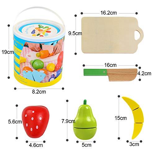 41INvidQgKL - BelleStyle Juguetes Cortar Frutas Verduras de Madera, Gastronomia Saludable, Sin Toxico Juguetes Educativos para 3+ Nino (Magic Stickers)