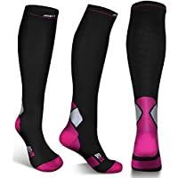Compression Socks For Men and Women - 20-30mmhg Best Graduated Athletic Fit for Running, Shin Splints, Varicose veins, Maternity Pregnancy, Flight Travel, Nurses Work. Boost Performance, Anti Fatigue, Recover Faster (S/M (Women 4-6.5 / Men 4-8) PAIR, Black & Pink)