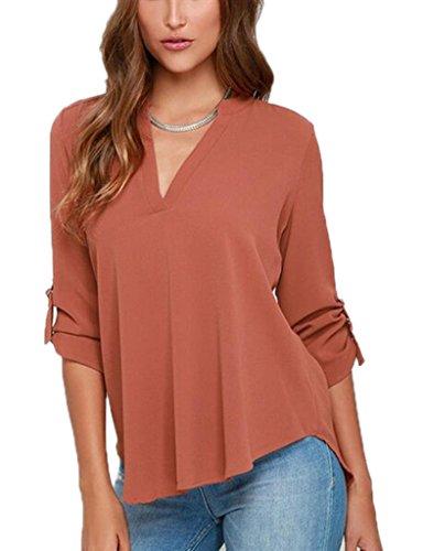 Smile YKK Chemisier Femme Grande Taille T-shirt Mousseline de Soie Blouse Col V Casual Soirée Mode Rouge