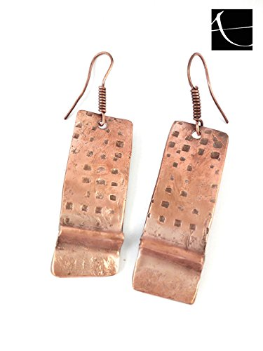 Orecchini in rame, martellato a mano, artigianali, stile etnico, tribale, copper earrings hammered handmade - Martellato Orecchini Di Stile
