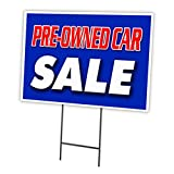 """PRE-OWNED CAR SALE 18""""x24"""" Yard Sign & Stake outdoor plastic window"""