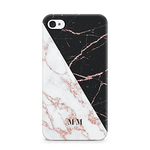 Personalised Customizable Letters Name Initials Custom Quote Black Geometric Marble Custodia Protettiva In Plastica Rigida Cover Per iPhone 5 / iPhone 5s / iPhone SE Case Rose Gold Marble Name
