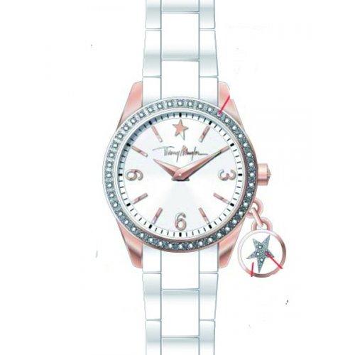 Thierry Mugler - 4715004 - Montre Femme - Quartz Analogique - Cadran Argent - Bracelet Plastique Blanc