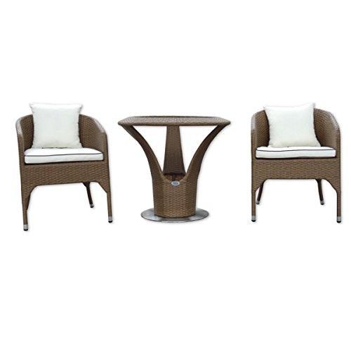 Rotin Meubles de jardin - Jardin et extérieur Bistro Set 2 personnes - table avec 2 x fauteuils et coussins - Design élégant. Imperméabiliser. Cadre en aluminium. table ronde sur pied en acier inoxydable - Bistrot Lounge (marron)