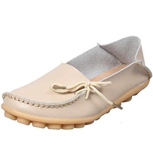 SIMPVALE Damen Mokassin Leder Loafers Fahren Schuhe Comfort Freizeit Flache Schuhe Beige