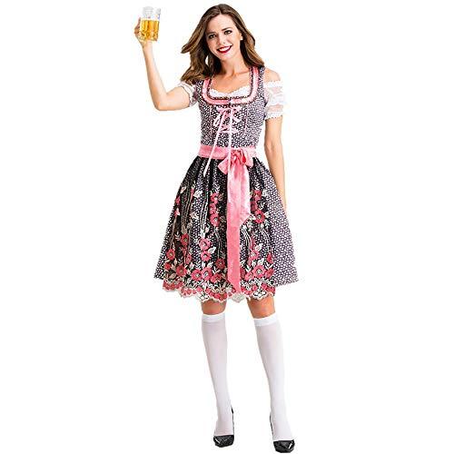 JHY Ladies Blue Beer Maid Oktoberfest Kostüm,Rosa,S (Cinderella Maid Kostüm)