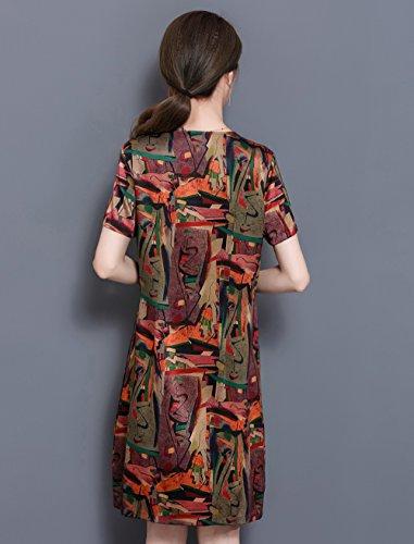 LAI MENG Vintage Damen V-Ausschnitt Minikleid mit Kunst-Muster Elegant Kurze Ärmel Sommerkleid Cocktailkleid Partykleid Rote