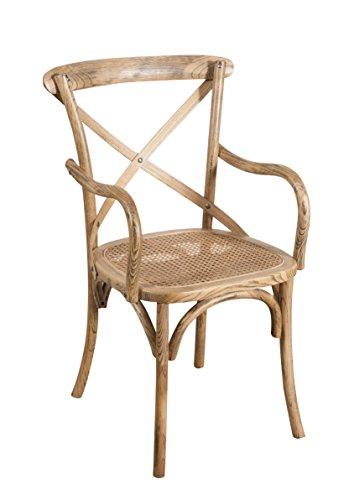 Biscottini Chaise avec accoudoirs Thonet en Massif de frêne en Finition Noyer Clair Vieilli et Assise en Paille de Vienne L43 x PR50 x H89 cm