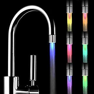 Oyedens Wasserhahn Duschkopf Temperatursensor 3 Farbe Küche Wasserhahn Wasserhahn Glow Shower LED Light Glow Temperaturkontrolle Wasser-Wasserhahn-Hahn Für Küche und Badezimmer Glow Waschtischarmatur (A, Mehrfarbig)