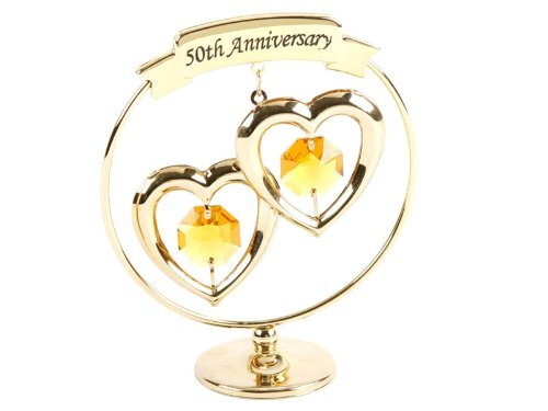 Crystocraft Keepsake Gift Ornament - Freestand Mobile 50th Gold Wedding Anniversary with Swarvoski Crystal Elements